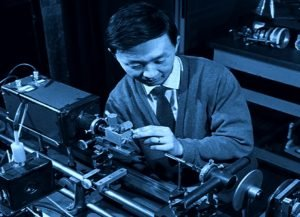 Dr. Kao in his laboratory experimenting on optical fibers